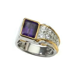 Michael Valitutti Emerald Cut Amethyst Ring