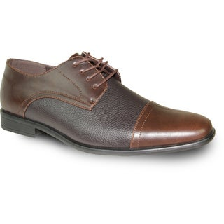 BRAVO Men Dress Shoe NEW KELLY-2 Oxford Brown Matte - Wide Width Available