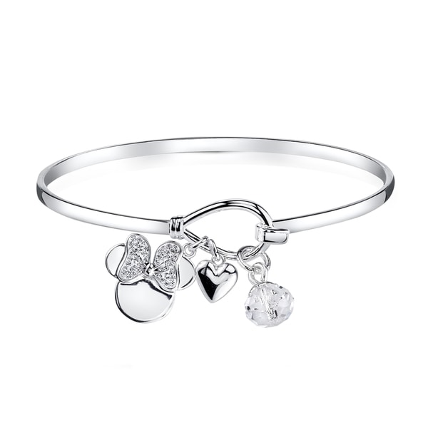 Disney Silverplated Brass and Crystal Minnie Mouse Bangle Bracelet