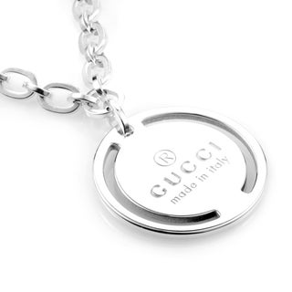 Gucci Sterling Silver Signature Pendant Necklace
