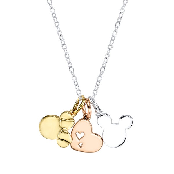 Disney Tricolor Brass Mickey and Minnie Mouse Charm Necklace 17605060