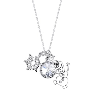 Disney Frozen Silverplated Brass and Austrian Crystal Necklace