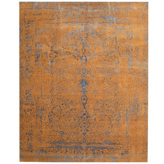 Herat Oriental Indo Hand-knotted Erased Light Brown/ Blue Wool and Silk Area Rug (8' x 10')