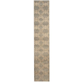 Herat Oriental Indo Hand-tufted Tibetan Gray/ Ivory Wool Runner (2'4 x 12')