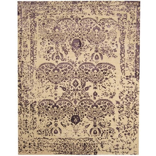 Herat Oriental Indo Hand-knotted Erased Ivory/ Purple Wool and Silk Area Rug (7'8 x 9'8)