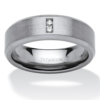 PalmBeach Titanium Men's Round Channel-set Diamond Accent Comfort Fit Angled Wedding Band