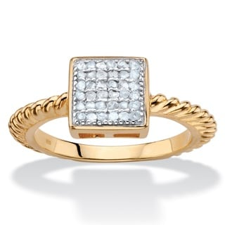 PalmBeach 18k Gold Overlay Round Diamond Accent Square Cluster Twisted Rope Ring