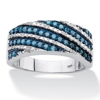 PalmBeach Platinum over Silver 1/2ct TDW Enhanced Blue and White Diamond Diagonal Cocktail Ring (I-J, I1-I2)