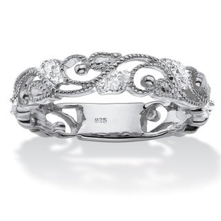 PalmBeach Sterling Silver 1/10ct TDW Diamond Openwork Filigree Ring