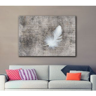 ArtWall Cora Niele's White Feather Gallery Wrapped Canvas