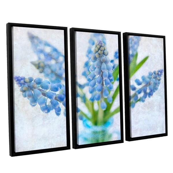 ArtWall Cora Niele's Blue Grape Hyacinth 3-piece Floater Framed Canvas Set