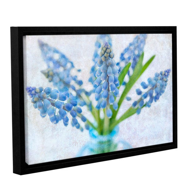 ArtWall Cora Niele's Blue Grape Hyacinth Gallery Wrapped Floater-framed Canvas