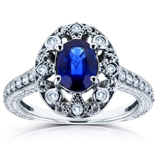 Annello 14k White Gold Oval Blue Sapphire and 1/4ct TDW Diamond Ring (H-I, I2)