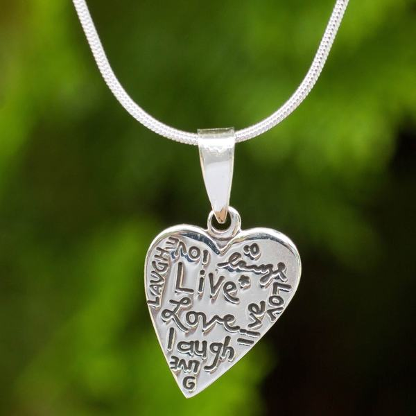Handmade Sterling Silver 'Live Love Laugh' Necklace (Thailand) 17610424