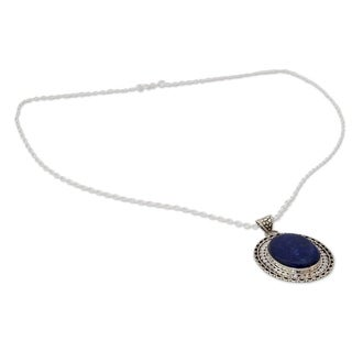 Sterling Silver 'Royal Indian Blue' Lapis Lazuli Necklace (India)