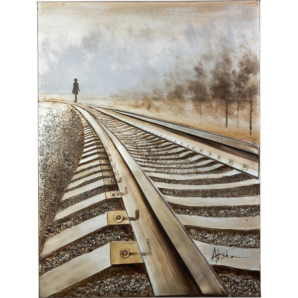 A Good Man Walking Along the Railroad Track with 3D Effects Canvas Artwork