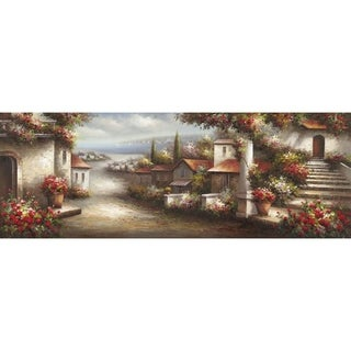 Where I Want To Be European Village with a Nearby Ocean Peaceful Landscape Canvas Artwork