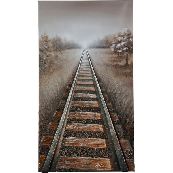 The Endless Journey Railroad Track with Lifelike 3D Effects Canvas Artwork