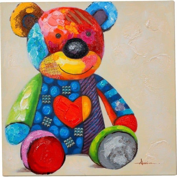 Waiting for a Friend' Colorful Little Teddy Bear Vibrant Canvas Artwork