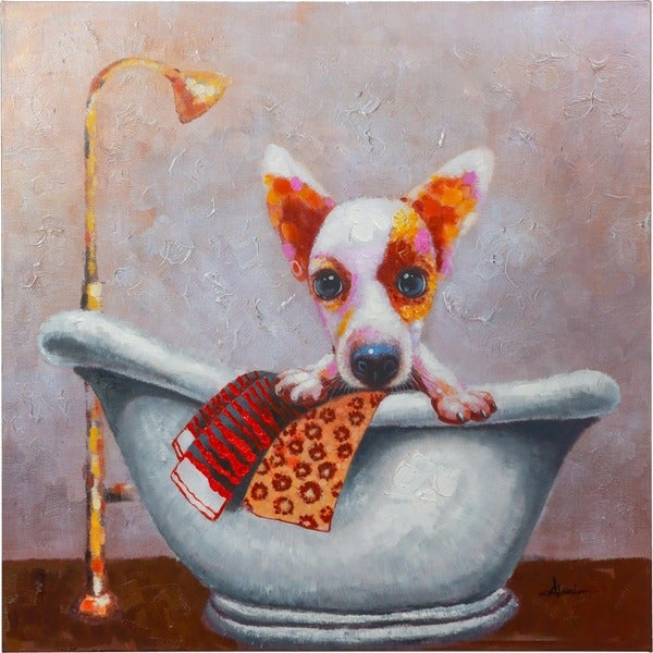 Puppy Taking a Bath with Warm Colors Canvas Artwork