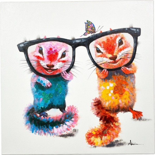 Everybody's Friend Two Chipmunks with Glasses Vibrant Canvas Artwork