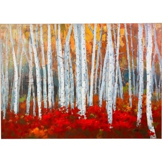 Once a Year Aspen Trees with the Colors of Autumn Canvas Artwork