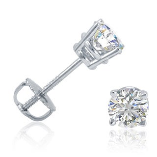 Amanda Rose Collection IGI Certified 1/2ct tw Diamond Stud Earrings in 14K White Gold with Screw Backs