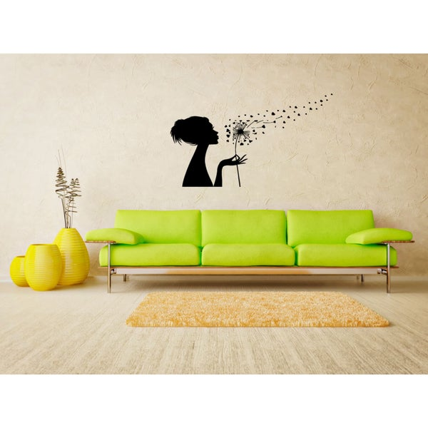The girl blows away dandelion Wall Art Sticker Decal