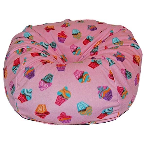 Anti-Pill Pink Cupcakes Fleece Washable Bean Bag Chair