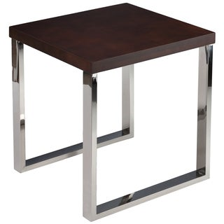 Cortesi Home Achille Contemporary End Table with Chrome legs and Walnut