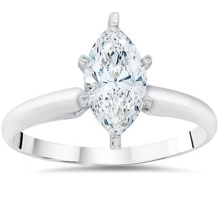 14k White Gold 1ct TDW Clarity Enhanced Marquise-cut Diamond Solitaire Engagement Ring (I-J,I2-I3)