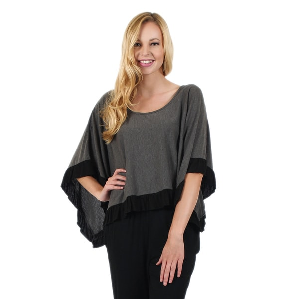 Women's Grey and Black Ruffle Trim Poncho
