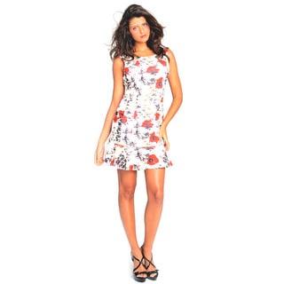 Sara Boo Floral Flutter-Hem Dress