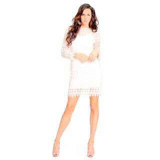 Sara Boo Floral Lace Sheer-Shoulder Dress