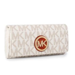 Michael Kors Fulton Vanilla Logo/Gold Carryall Wallet