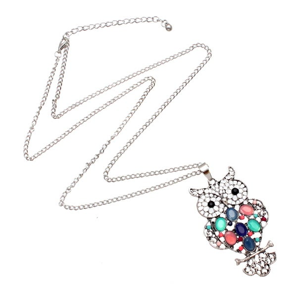 Bleek2Sheek Bohemian Rainbow Pastel Mosaic Owl Long Necklace