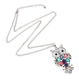 Bleek2Sheek Bohemian Rainbow Pastel Mosaic Owl Long Necklace