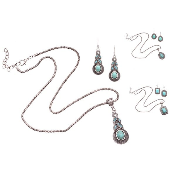 Bleek2Sheek 'Mayan Love' Faux Turquoise Three Pendant Necklace and Earring Jewelry Set (Set of 3)