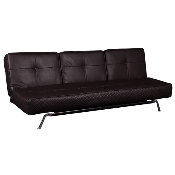 Luca Brown Bonded Leather Multi-Functional Futon Sleeper