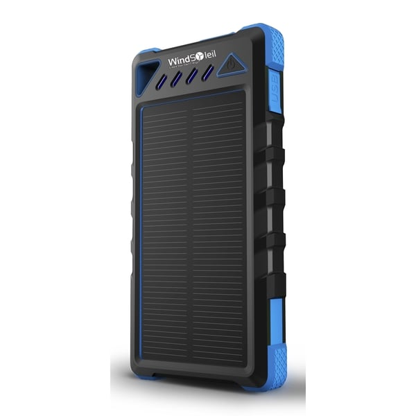 WindSoleil Mawu Solar Power 8000mAh Portable Waterproof Battery Bank Charger with LED Light