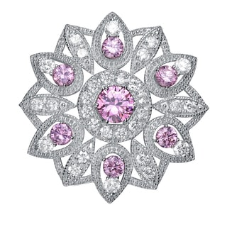 Collette Z Sterling Silver Purple and Clear Cubic Zirconia Flower Pin