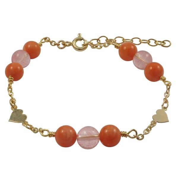 Luxiro Gold Filled Coral Semi-precious Gemstone Children's Heart Bracelet