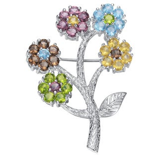 Collette Z Sterling Silver Cubic Zirconia Flower Bunch Pin