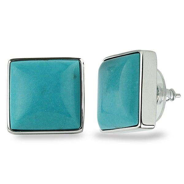 Sterling Silver 15mm Square Turquoise Stud Earrings