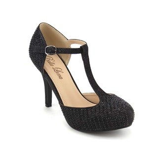 Pazzle Gb57 Women's T-strap Glitter Heels