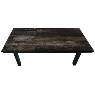 ArtHouse Innovations Dark Wood Texture Suede Upholstered Coffee Table