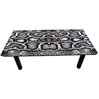 ArtHouse Innovations Black White Snake Python Suede Upholstered Coffee Table