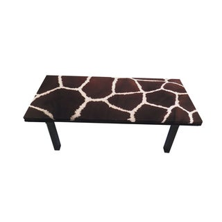 ArtHouse Innovations Live Brown Giraffe Skin Suede Upholstered Coffee Table