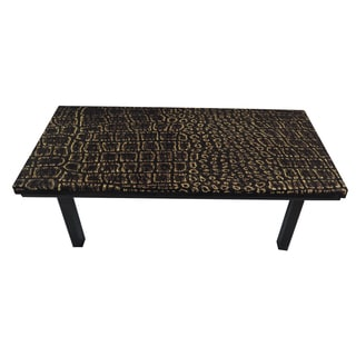 ArtHouse Innovations Old Dark Brown Crocodile Suede Upholstered Coffee Table
