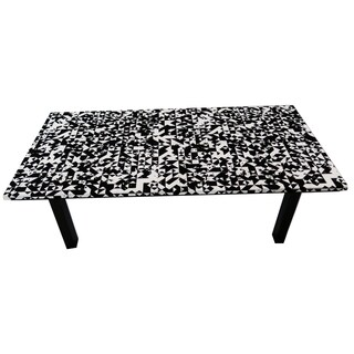ArtHouse Innovations Black White Grey Geometric Suede Upholstered Coffee Table